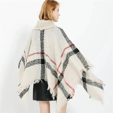 Check Shawl Sweater: Perfect for Wearing in the Winter
