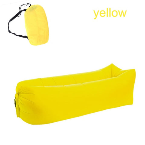 Image of Quick-inflatable soft bag air couch sofa: Can be easily inflated within 10 seconds without a pump - Yellow - Beeline-Xpress