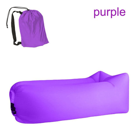 Image of Quick-inflatable soft bag air couch sofa: Can be easily inflated within 10 seconds without a pump - Purple - Beeline-Xpress