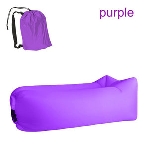 Quick-inflatable soft bag air couch sofa: Can be easily inflated within 10 seconds without a pump - Purple - Beeline-Xpress