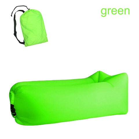 Image of Quick-inflatable soft bag air couch sofa: Can be easily inflated within 10 seconds without a pump - Green - Beeline-Xpress