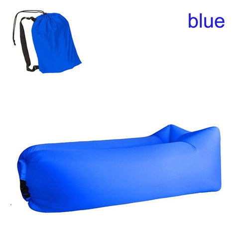 Quick-inflatable soft bag air couch sofa: Can be easily inflated within 10 seconds without a pump - Blue - Beeline-Xpress