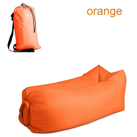 Quick-inflatable soft bag air couch sofa: Can be easily inflated within 10 seconds without a pump - Orange - Beeline-Xpress