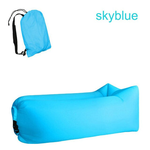 Image of Quick-inflatable soft bag air couch sofa: Can be easily inflated within 10 seconds without a pump - Sky Blue - Beeline-Xpress