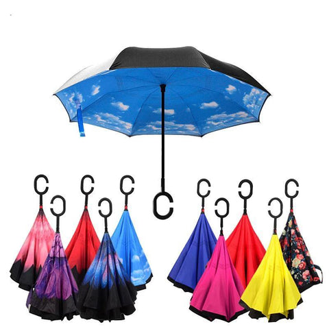 Image of Double-Sided Foldable Umbrella : C-Shaped Handle To Get Your Hands Free - Beeline-Xpress