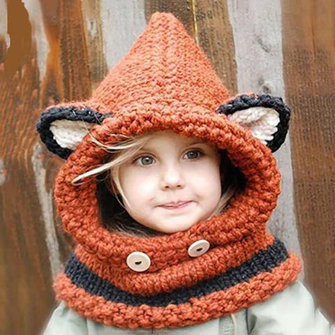 Image of Fashionable Fox Beanie for Kids: Perfect Gift to Keep Kids Warm on Christmas - Orange - Beeline-Xpress
