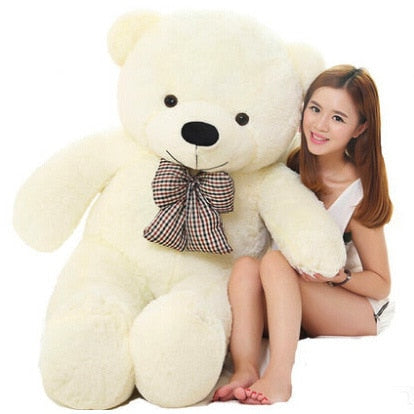 Image of Big teddy bear: send your gift with a special personalized message - 120cm / White - Beeline-Xpress