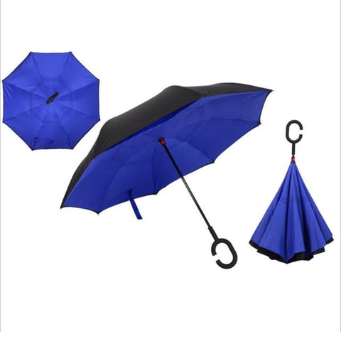 Image of Double-Sided Foldable Umbrella : C-Shaped Handle To Get Your Hands Free - Blue - Beeline-Xpress