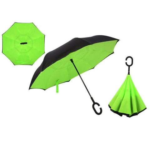 Image of Double-Sided Foldable Umbrella : C-Shaped Handle To Get Your Hands Free - Green - Beeline-Xpress