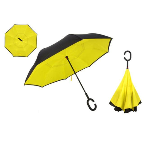 Image of Double-Sided Foldable Umbrella : C-Shaped Handle To Get Your Hands Free - Yellow - Beeline-Xpress