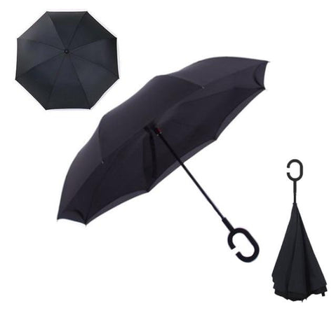 Image of Double-Sided Foldable Umbrella : C-Shaped Handle To Get Your Hands Free - Black - Beeline-Xpress