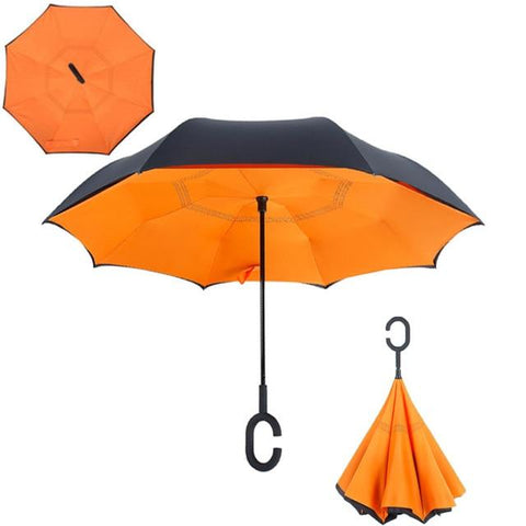 Image of Double-Sided Foldable Umbrella : C-Shaped Handle To Get Your Hands Free - Orange - Beeline-Xpress