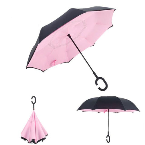 Image of Double-Sided Foldable Umbrella : C-Shaped Handle To Get Your Hands Free - Pink - Beeline-Xpress