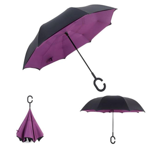 Image of Double-Sided Foldable Umbrella : C-Shaped Handle To Get Your Hands Free - Purple - Beeline-Xpress