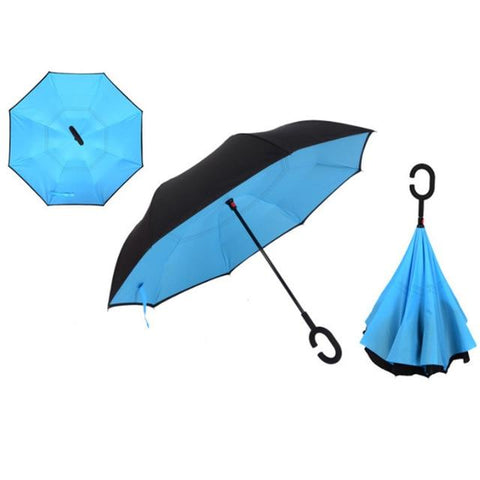 Image of Double-Sided Foldable Umbrella : C-Shaped Handle To Get Your Hands Free - Blue 2 - Beeline-Xpress