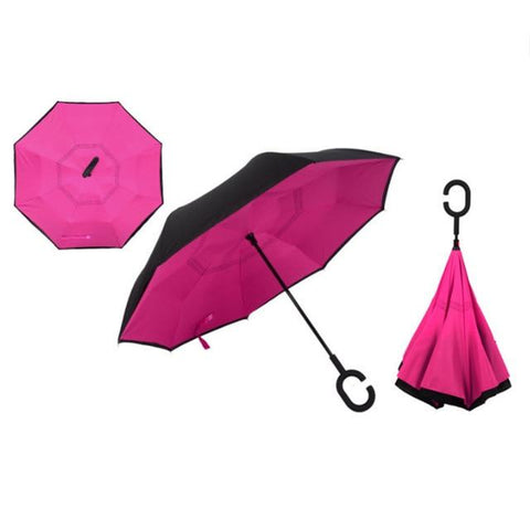 Image of Double-Sided Foldable Umbrella : C-Shaped Handle To Get Your Hands Free - Rose - Beeline-Xpress