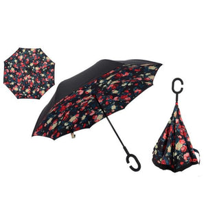 Double-Sided Foldable Umbrella : C-Shaped Handle To Get Your Hands Free - Red Floral - Beeline-Xpress