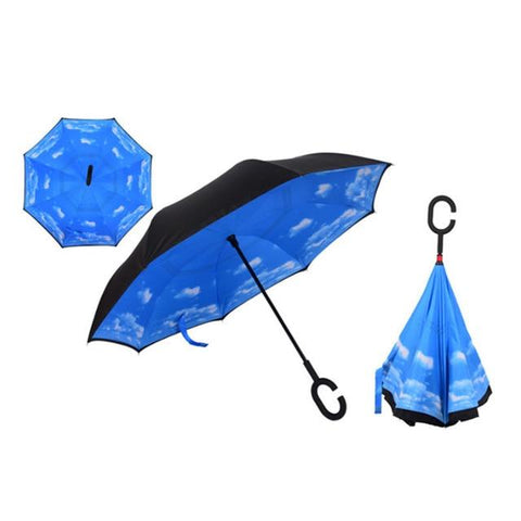 Image of Double-Sided Foldable Umbrella : C-Shaped Handle To Get Your Hands Free - Blue Sky - Beeline-Xpress
