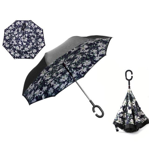 Image of Double-Sided Foldable Umbrella : C-Shaped Handle To Get Your Hands Free - Lily - Beeline-Xpress