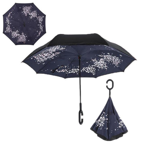 Image of Double-Sided Foldable Umbrella : C-Shaped Handle To Get Your Hands Free - Cherry Blossoms - Beeline-Xpress
