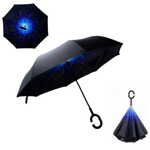 Image of Double-Sided Foldable Umbrella : C-Shaped Handle To Get Your Hands Free - Stars - Beeline-Xpress