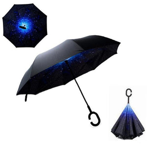 Double-Sided Foldable Umbrella : C-Shaped Handle To Get Your Hands Free - Stars - Beeline-Xpress
