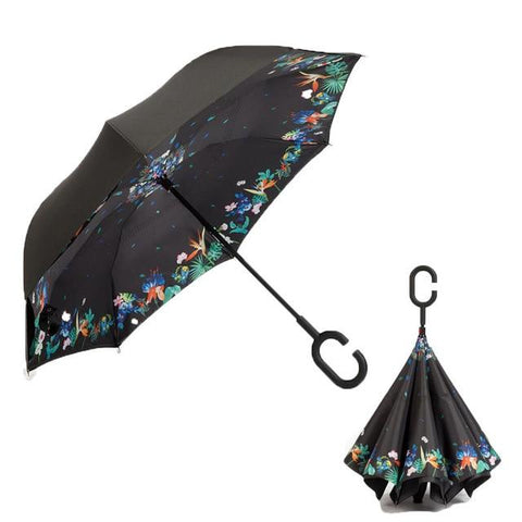Image of Double-Sided Foldable Umbrella : C-Shaped Handle To Get Your Hands Free - Deciduous flowering - Beeline-Xpress