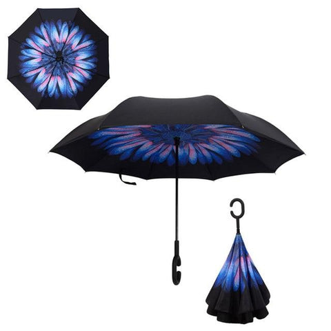 Image of Double-Sided Foldable Umbrella : C-Shaped Handle To Get Your Hands Free - Blue Daisyc - Beeline-Xpress