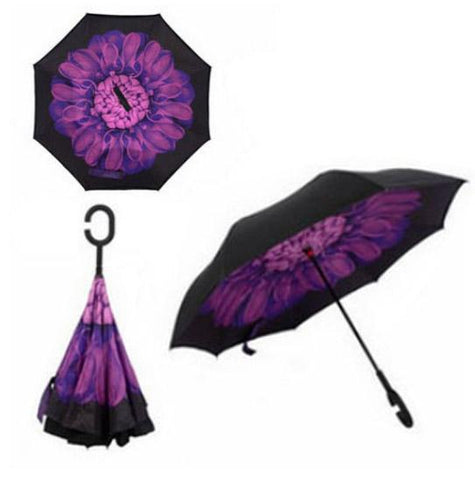 Image of Double-Sided Foldable Umbrella : C-Shaped Handle To Get Your Hands Free - Purple Flower - Beeline-Xpress