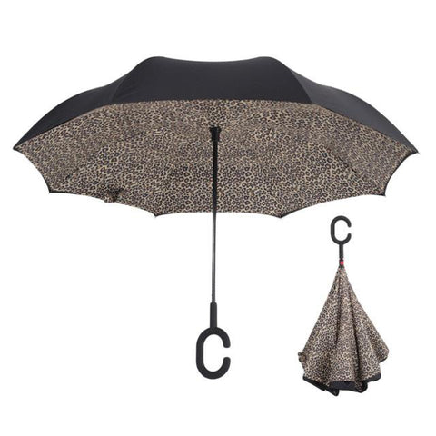 Image of Double-Sided Foldable Umbrella : C-Shaped Handle To Get Your Hands Free - Leopard - Beeline-Xpress