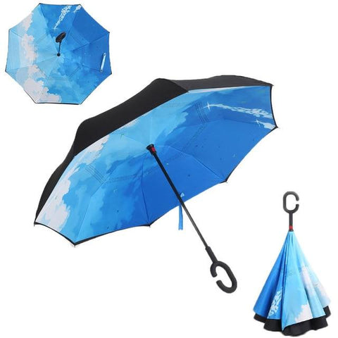 Image of Double-Sided Foldable Umbrella : C-Shaped Handle To Get Your Hands Free - City Sky - Beeline-Xpress