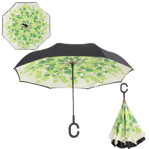 Image of Double-Sided Foldable Umbrella : C-Shaped Handle To Get Your Hands Free - Green shade - Beeline-Xpress