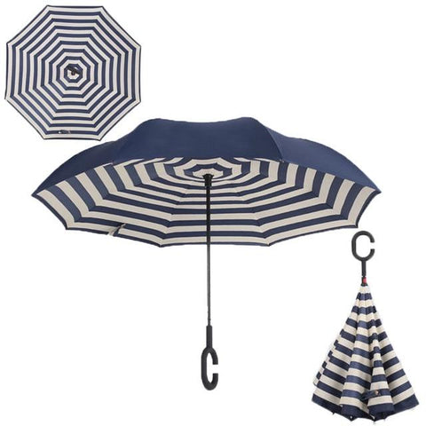 Image of Double-Sided Foldable Umbrella : C-Shaped Handle To Get Your Hands Free - Naval stripe - Beeline-Xpress