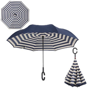Double-Sided Foldable Umbrella : C-Shaped Handle To Get Your Hands Free - Naval stripe - Beeline-Xpress