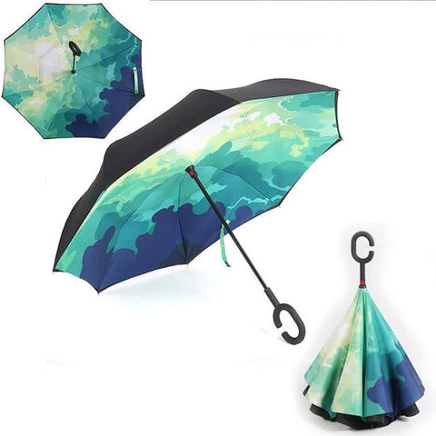 Image of Double-Sided Foldable Umbrella : C-Shaped Handle To Get Your Hands Free - Green Camouflage - Beeline-Xpress