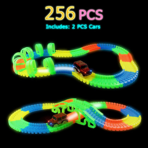 Image of Illuminated Customized Speedway Toy For Kids - 256 pcs with 2 car - Beeline-Xpress