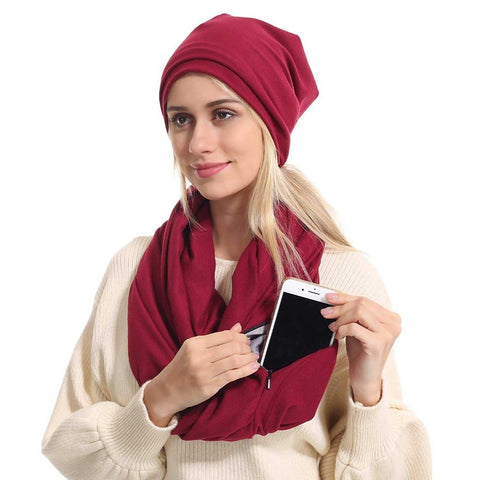 Travel Scarf With Zipper Pocket: Perfect for your smartphone, passport, credit cards, wallet, iPhone and keys! - Beeline-Xpress