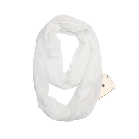 Travel Scarf With Zipper Pocket: Perfect for your smartphone, passport, credit cards, wallet, iPhone and keys! - WHITE - Beeline-Xpress