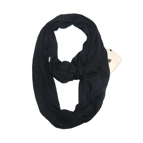 Travel Scarf With Zipper Pocket: Perfect for your smartphone, passport, credit cards, wallet, iPhone and keys! - BLACK - Beeline-Xpress