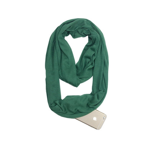 Travel Scarf With Zipper Pocket: Perfect for your smartphone, passport, credit cards, wallet, iPhone and keys! - GREEN - Beeline-Xpress
