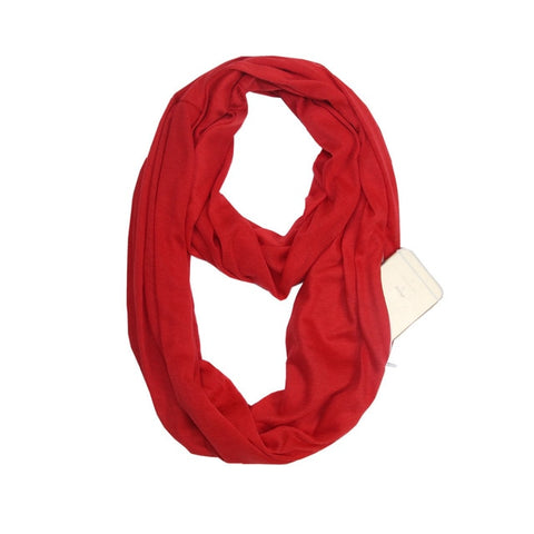 Travel Scarf With Zipper Pocket: Perfect for your smartphone, passport, credit cards, wallet, iPhone and keys! - RED - Beeline-Xpress