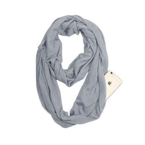 Travel Scarf With Zipper Pocket: Perfect for your smartphone, passport, credit cards, wallet, iPhone and keys! - GRAY - Beeline-Xpress