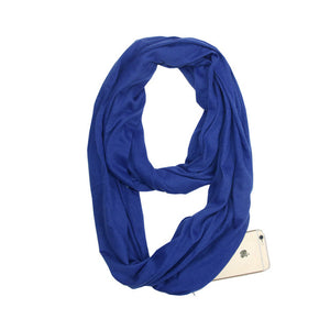 Travel Scarf With Zipper Pocket: Perfect for your smartphone, passport, credit cards, wallet, iPhone and keys! - BLUE - Beeline-Xpress