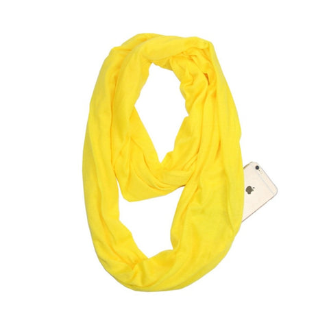 Travel Scarf With Zipper Pocket: Perfect for your smartphone, passport, credit cards, wallet, iPhone and keys! - YELLOW - Beeline-Xpress