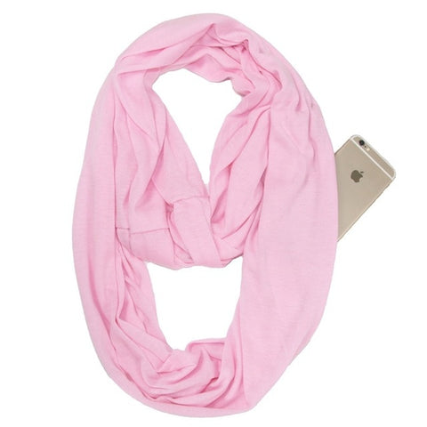 Travel Scarf With Zipper Pocket: Perfect for your smartphone, passport, credit cards, wallet, iPhone and keys! - PINK - Beeline-Xpress
