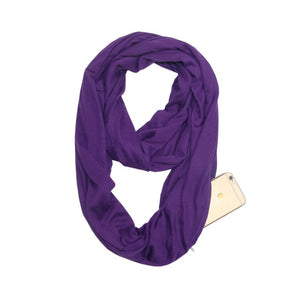Travel Scarf With Zipper Pocket: Perfect for your smartphone, passport, credit cards, wallet, iPhone and keys! - PURPLE - Beeline-Xpress