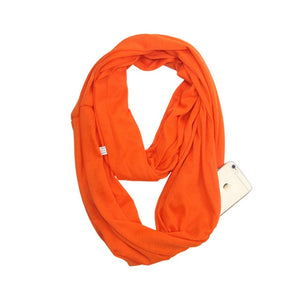 Travel Scarf With Zipper Pocket: Perfect for your smartphone, passport, credit cards, wallet, iPhone and keys! - ORANGE - Beeline-Xpress