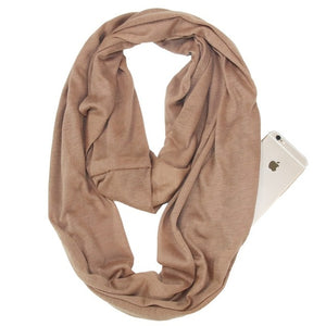 Travel Scarf With Zipper Pocket: Perfect for your smartphone, passport, credit cards, wallet, iPhone and keys! - KHAKI - Beeline-Xpress