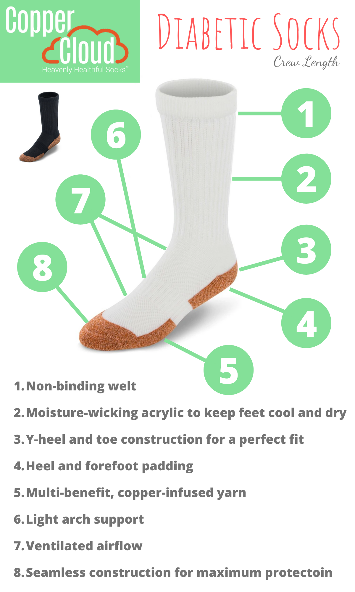 Apex Copper Cloud Crew Length Diabetic Socks