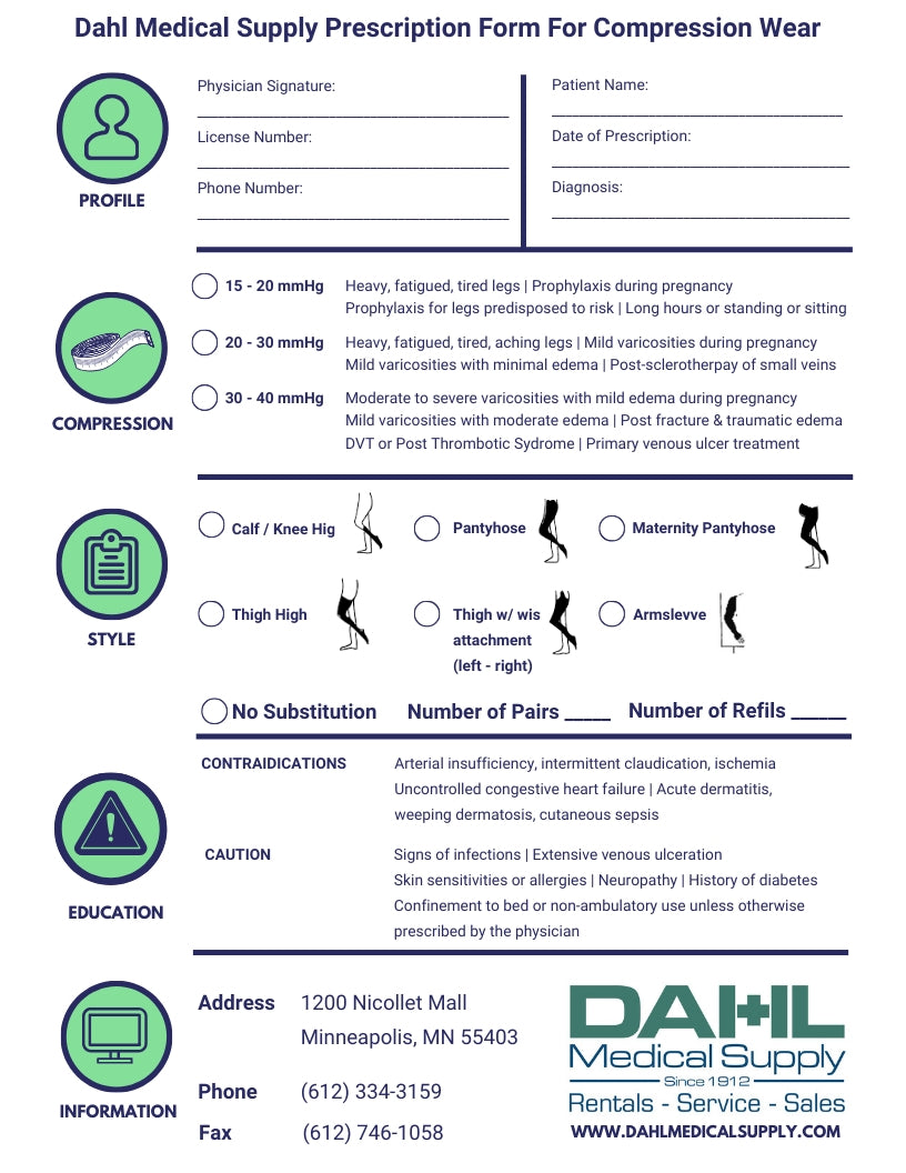Print Compression Wear Prescription | Dahl Medical Supply